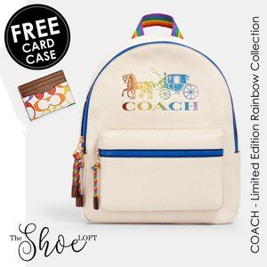 Coach Rainbow Charlie Backpack w FREE Card Case